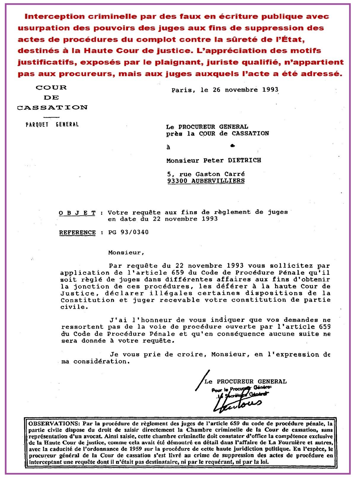 Règlement juges avorté Cass Paris