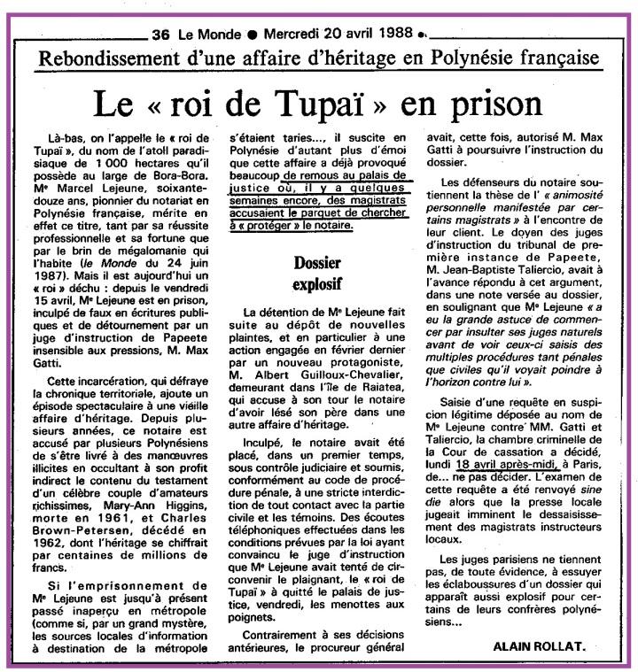 Roi de Tupaï en Prison