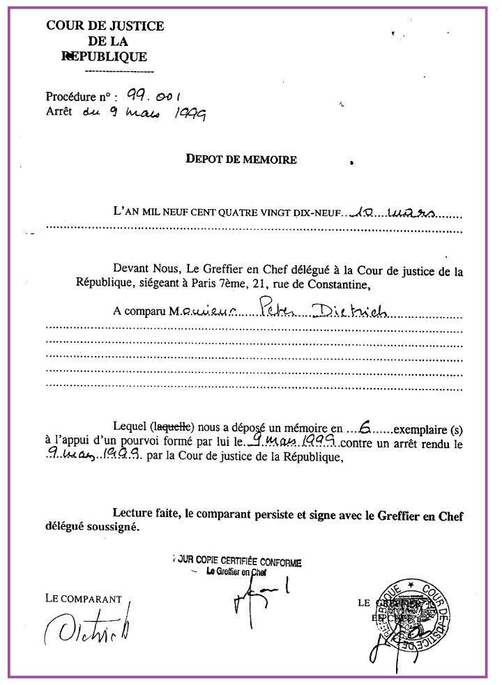 Cour de Justice de la République Dépot de mémoire.