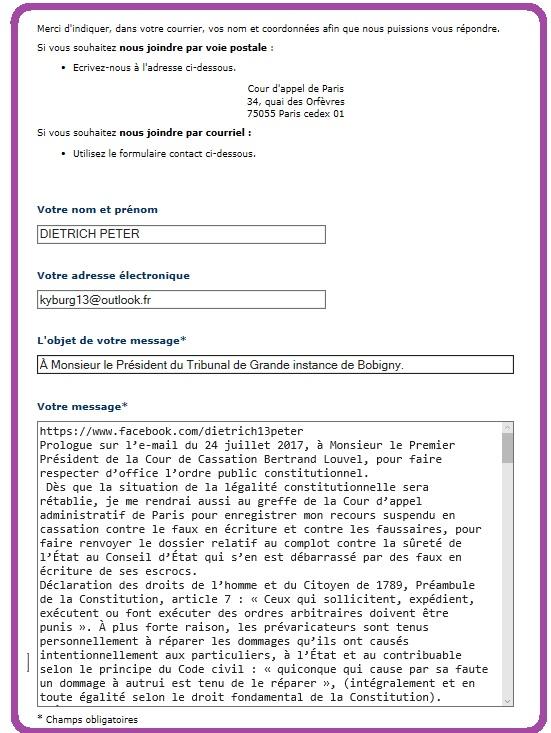 Président TGI Bobigny courrier électronique.
