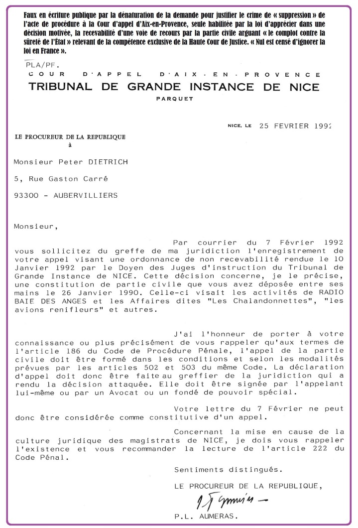 Médecin Nice, réponse du Procureur.